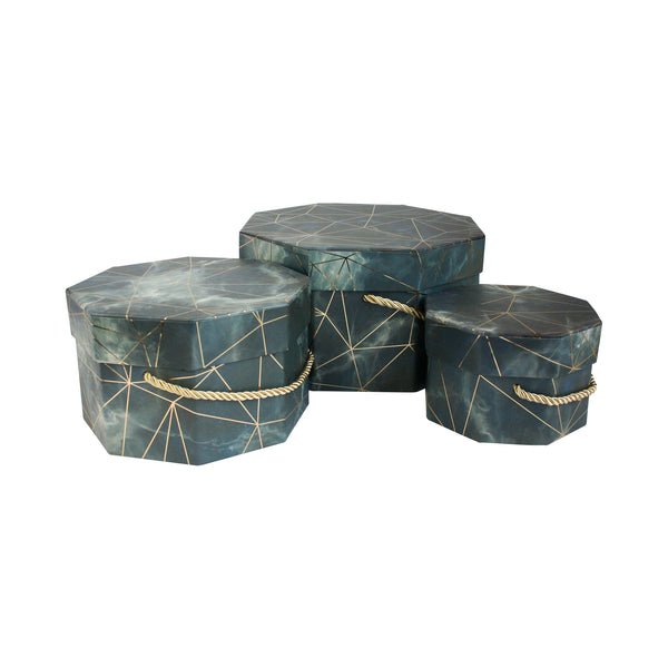 Grey Marble Print  Gift Box - Set of 3