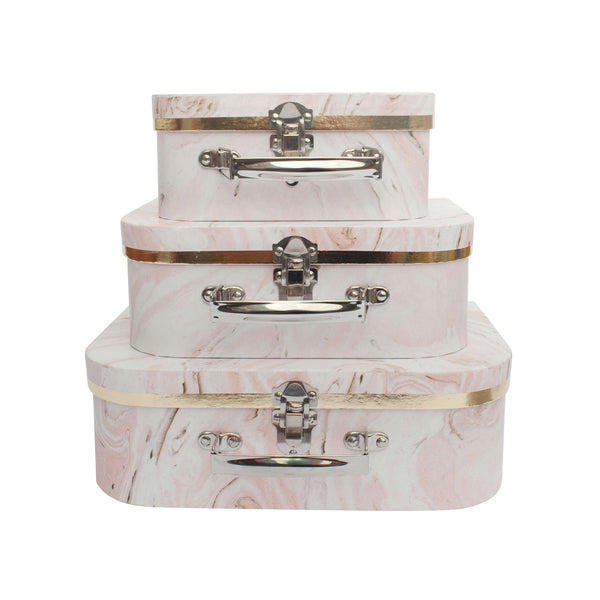 Pink Marble Print Gift Box - Set of 3