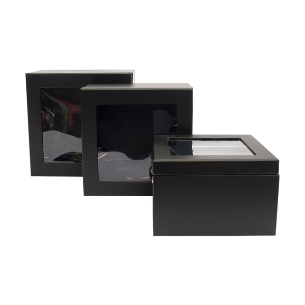 Black Transparent Top Gift Box - Set of 3 - EMARTBUY