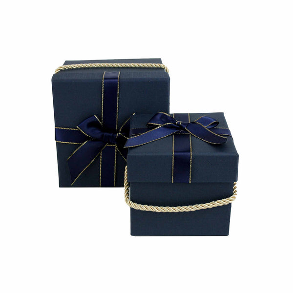 Dark Blue Square Gift Box - Set of 2