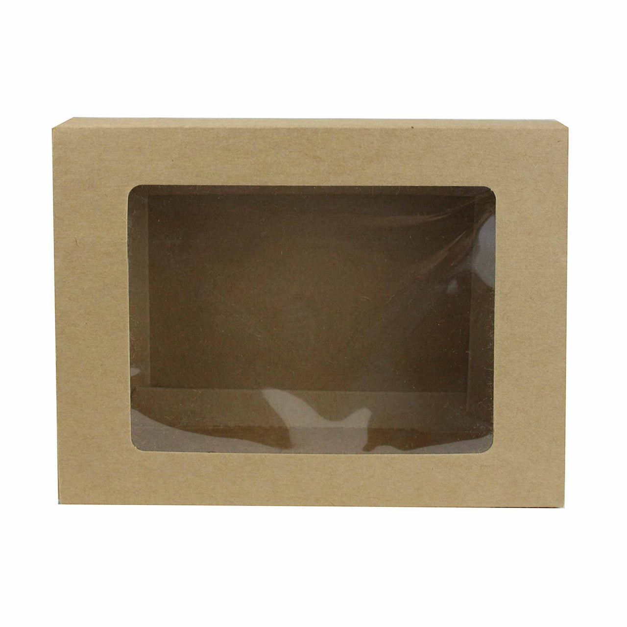 Rectangle Brown with Plastic Window Gift Box - Pack of 10