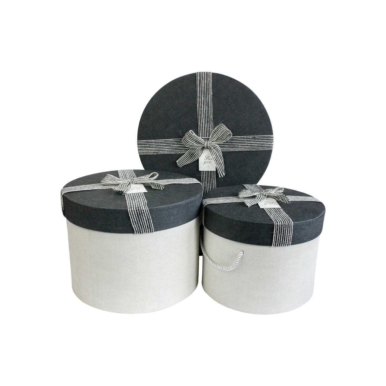 LUXURY BEIGE & NAVY BLUE CYLINDRICAL GIFT BOX LARGE- SET OF 3