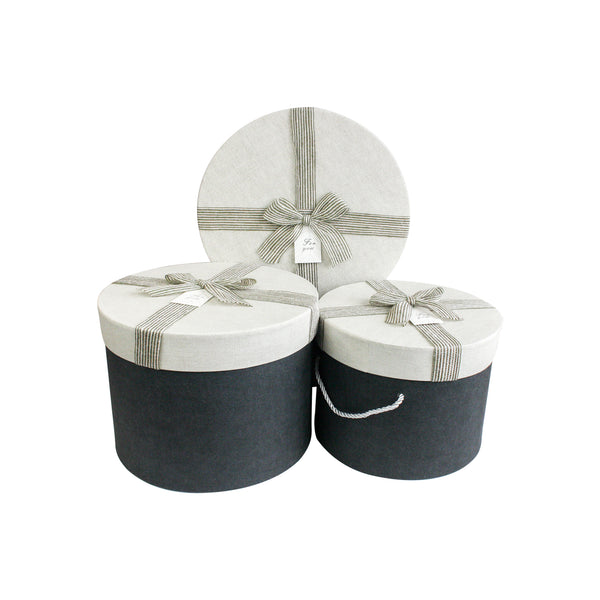 LUXURY NAVY BLUE & BEIGE CYLINDRICAL GIFT BOX LARGE- SET OF 3