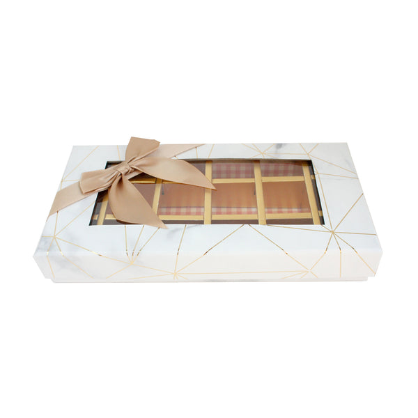 18 Compartment Marble Print Gift Box - White Pack of 3