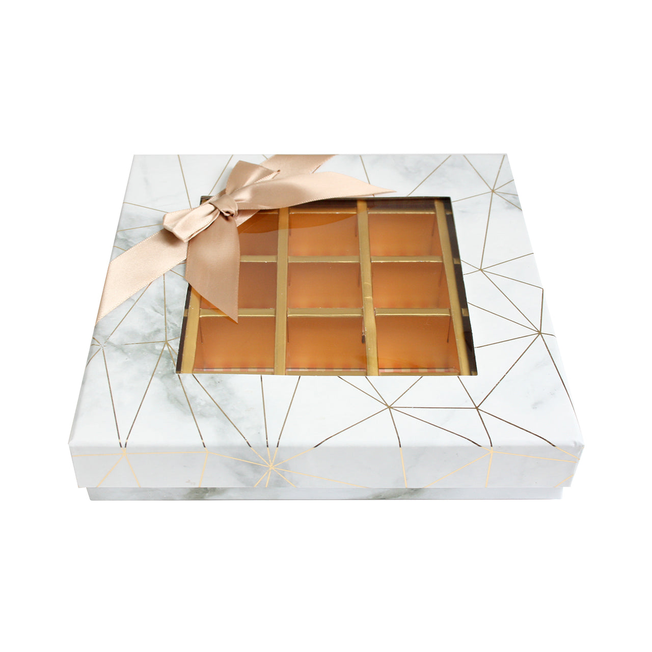 25 Compartment Marble Print Gift Box - White
