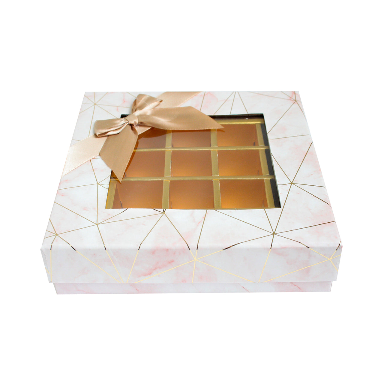 25 Compartment Marble Print Gift Box - Pink