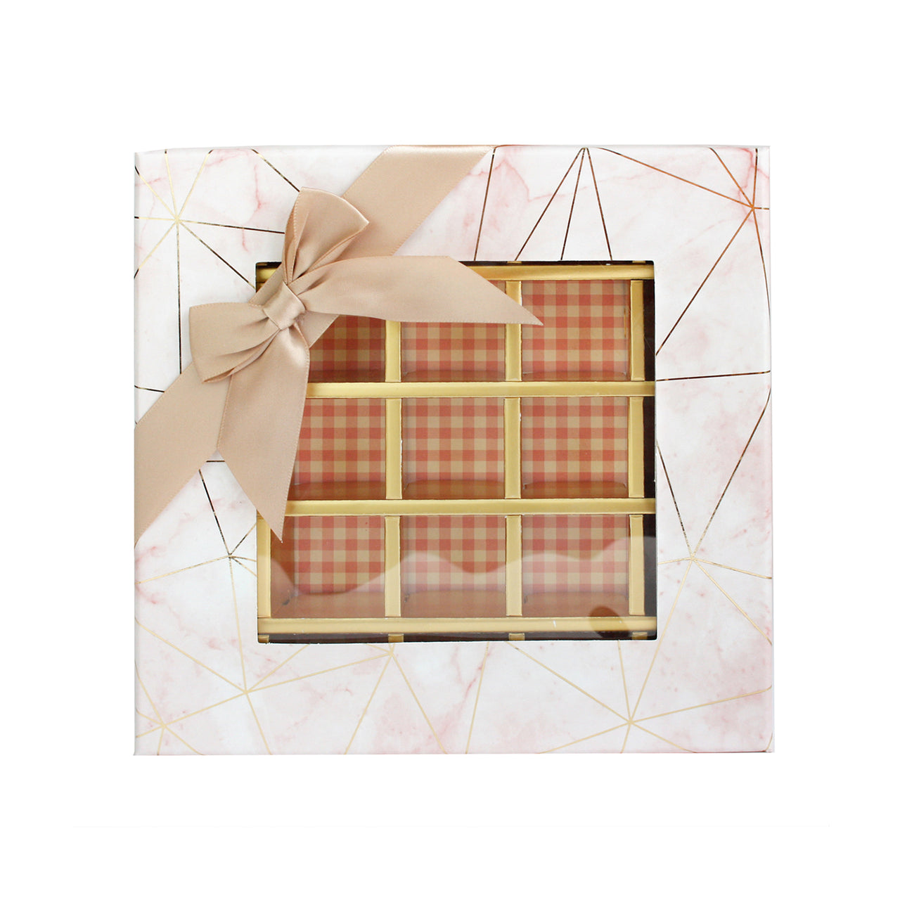 25 Compartment Marble Print Gift Box - Pink Pack of 3