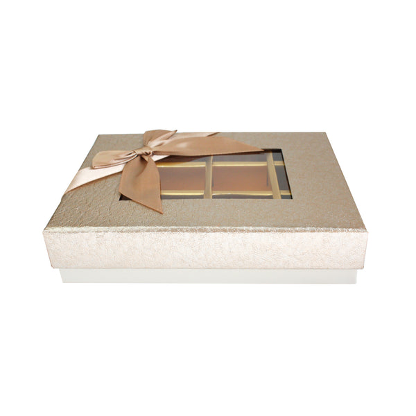 12 Compartment Metallic Gift Box - Gold Pack of 3
