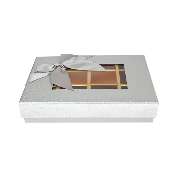 12 Compartment Metallic Gift Box - Silver Pack of 3