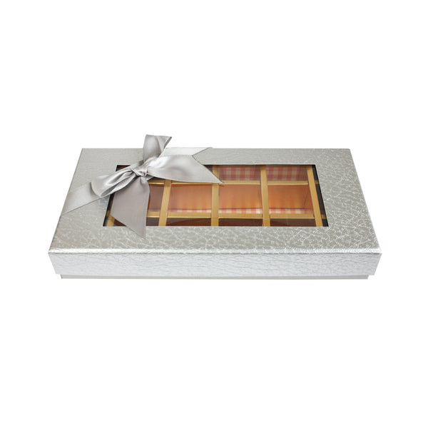 18 Compartment Metallic Gift Box - Silver