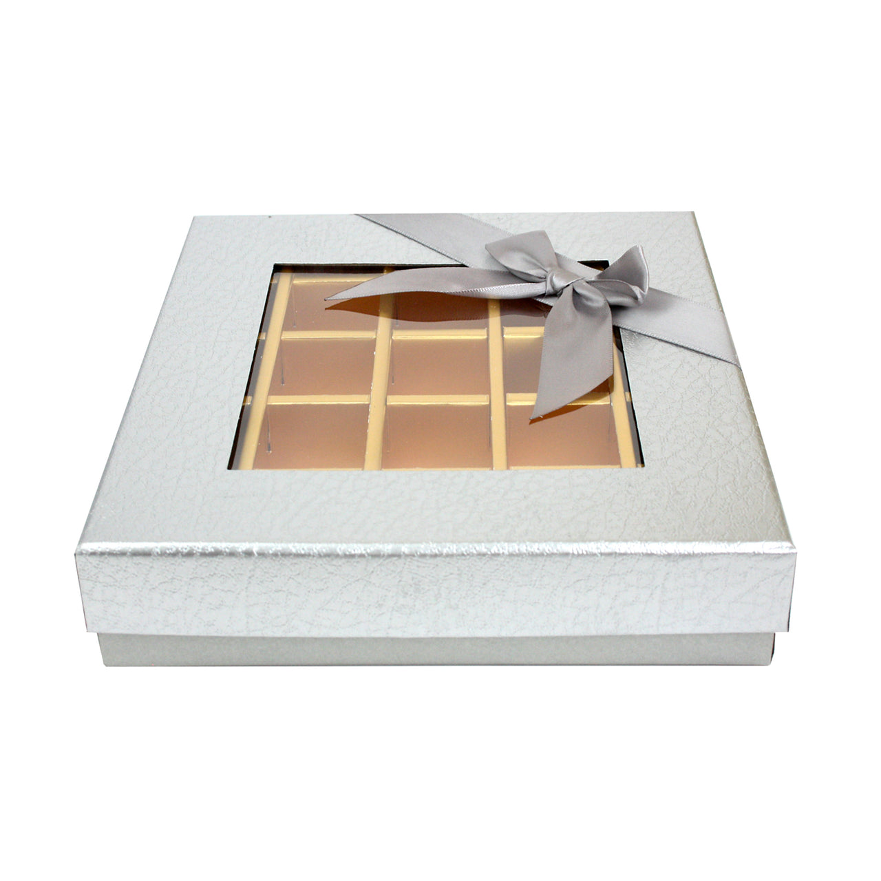 25 Compartment Metallic Gift Box - Silver Pack of 3