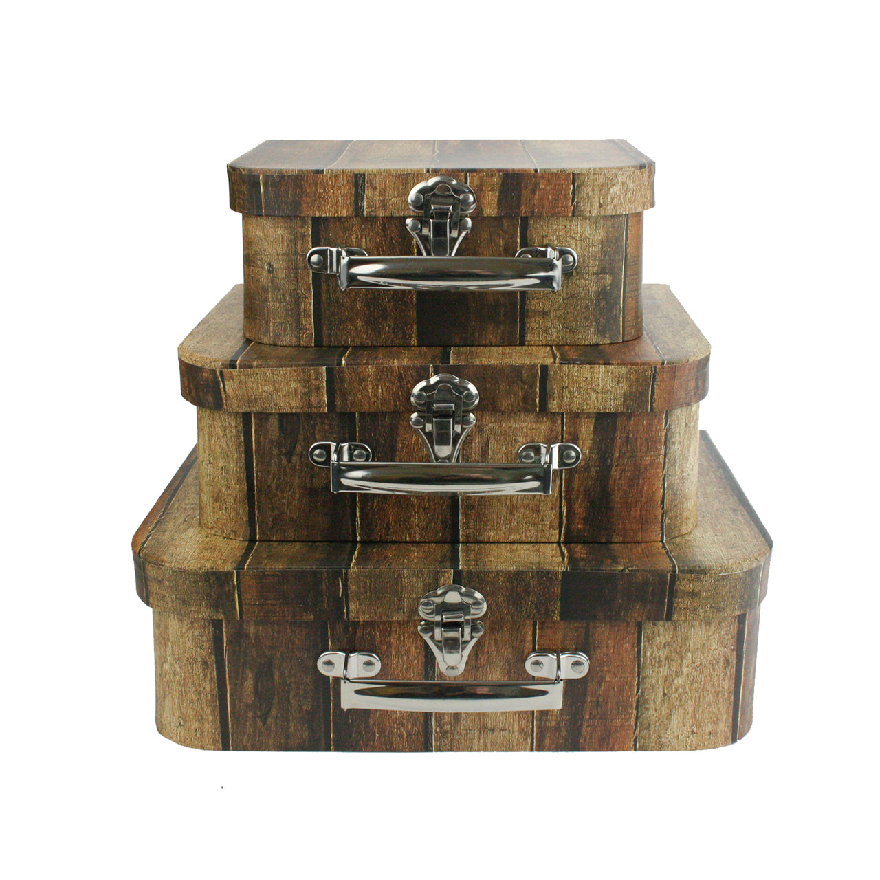 Set of 3 Suitcase Gift Box - Brown Wooden Effect