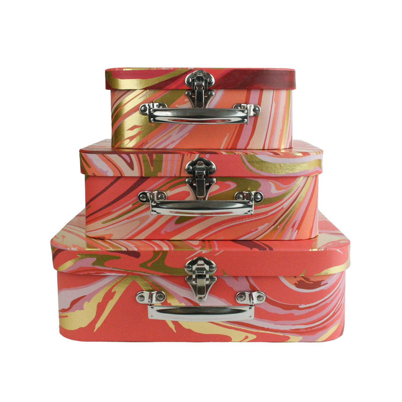 Set of 3 Suitcase Gift Box - Orange Gold Marble Print