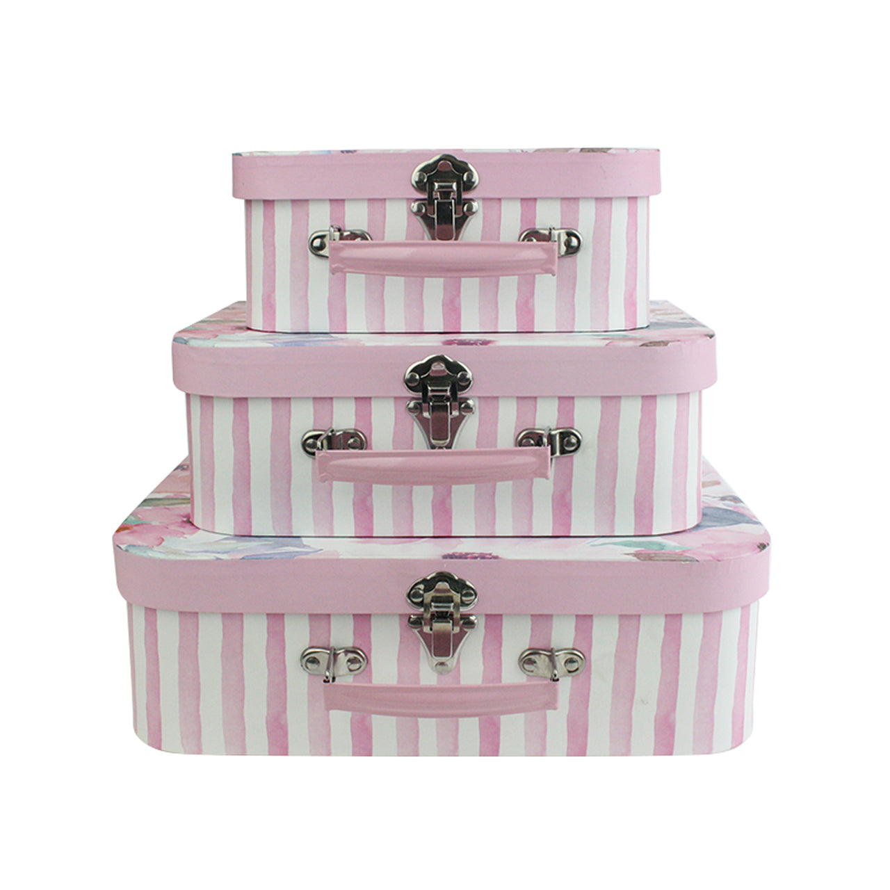 Set of 3 Suitcase Gift Box - Pink Floral Print with Pink Lid