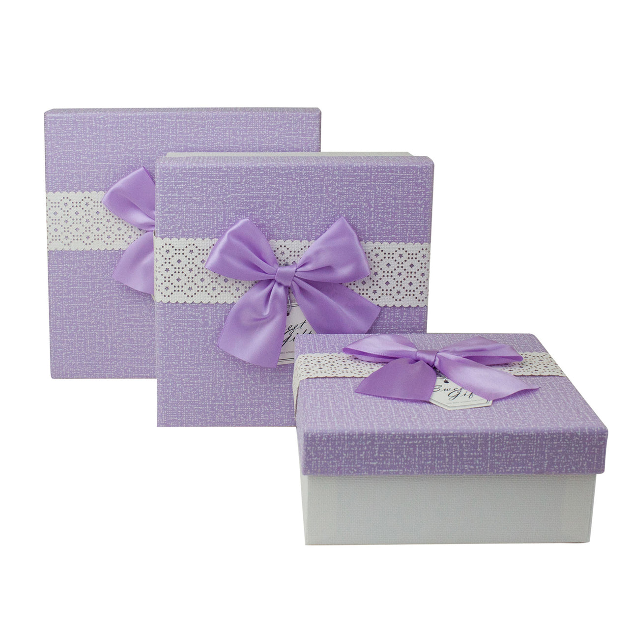 Lilac Lace Bow Gift Box - Set Of 3