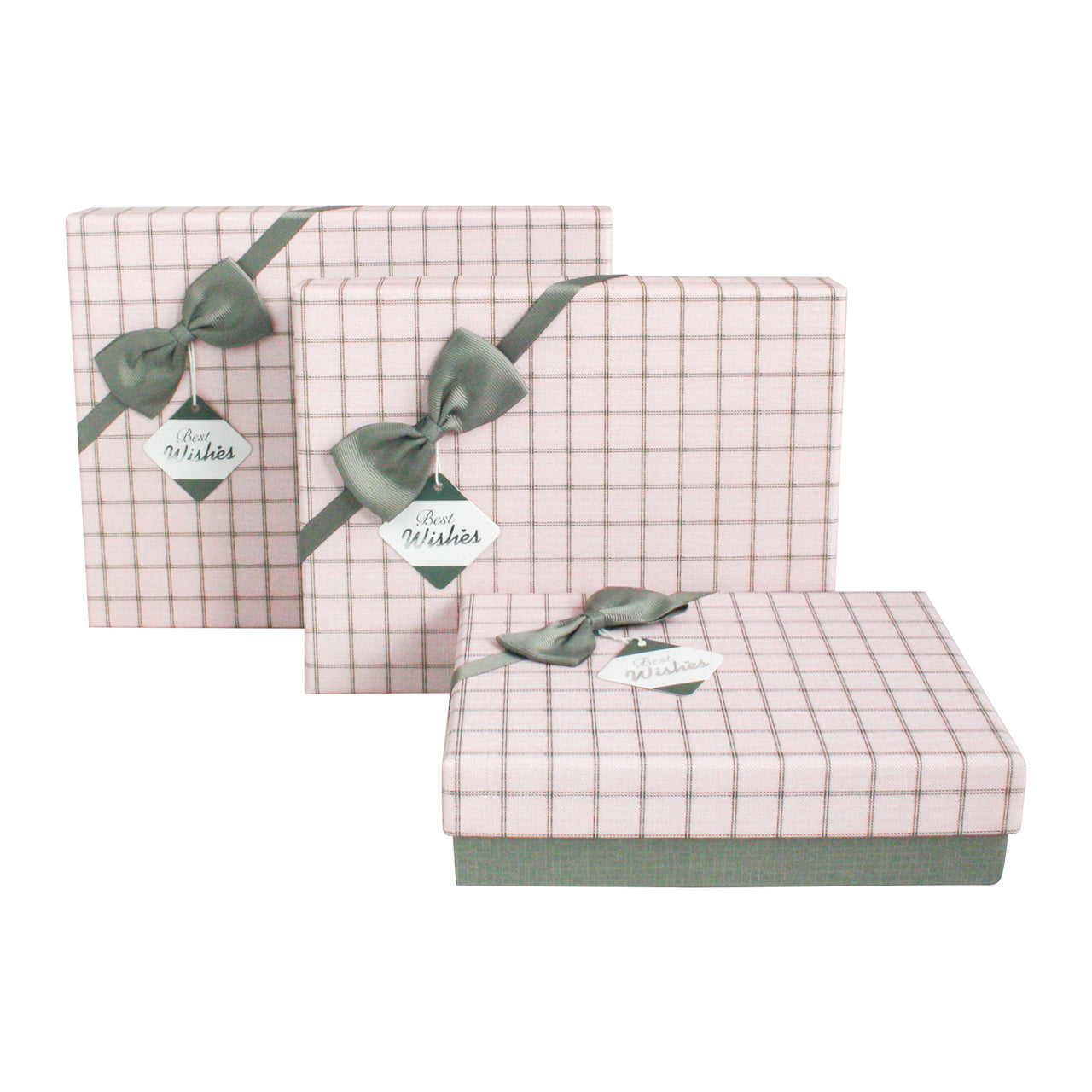 Pink Grey Chequered Gift Box - Set Of 3