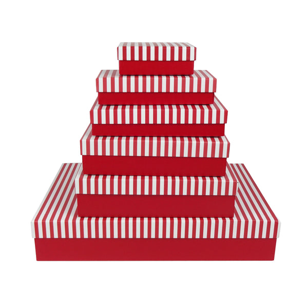 Red & Red/White Stripes Rectangle Gift Box - Set of 6