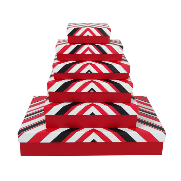 Red with White/Red/Black Triangular Stripes Gift Box - Set of 6
