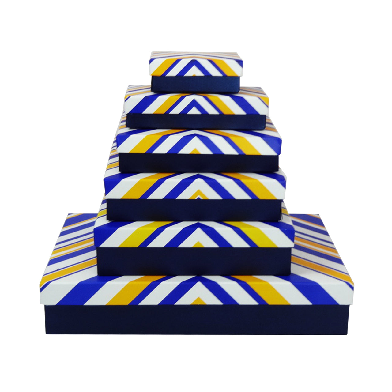 Blue Triangular Stripes Gift Box - Set Of 6