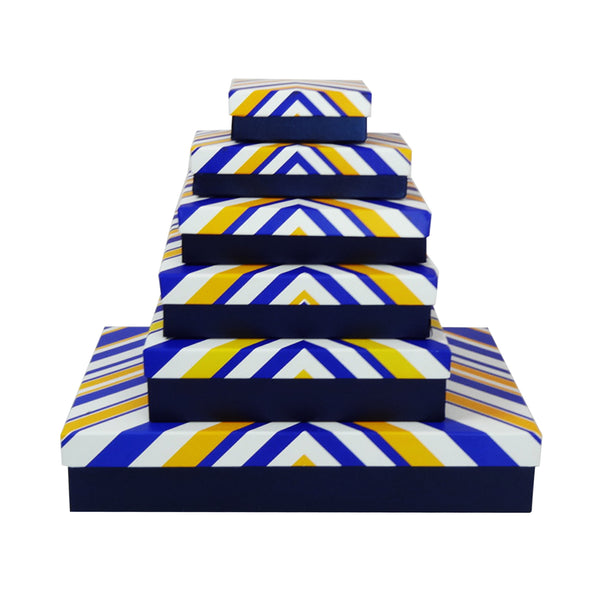 Dark Blue with White/Blue/Yellow Triangular Stripes Gift Box - Set of 6
