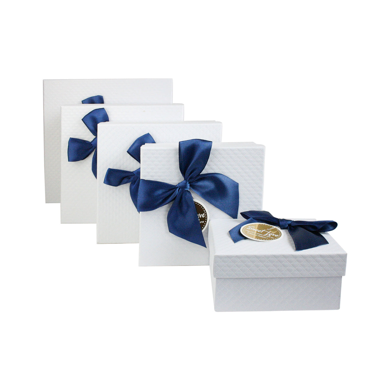 White Blue Bow Gift Box - Set Of 5