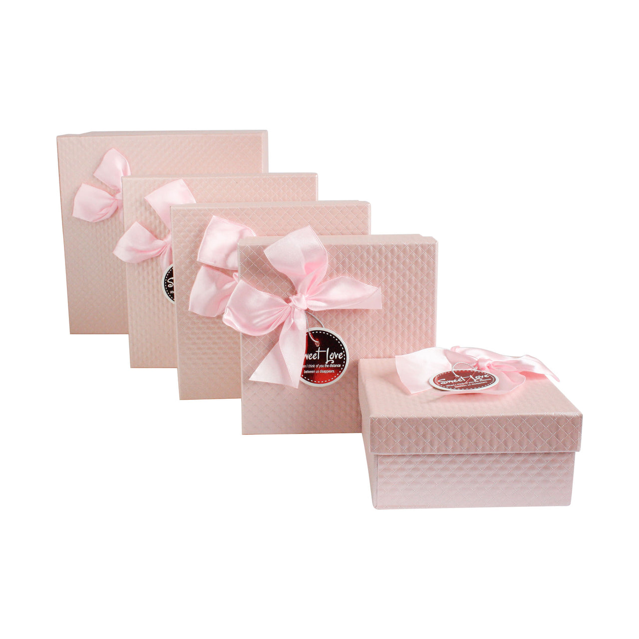 Pink Bow Gift Box - Set Of 5