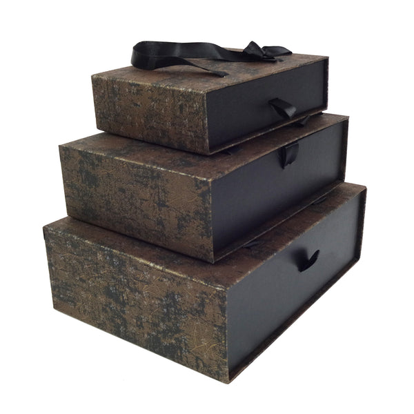 Metallic Black Gold Gift Box  - Set of 3