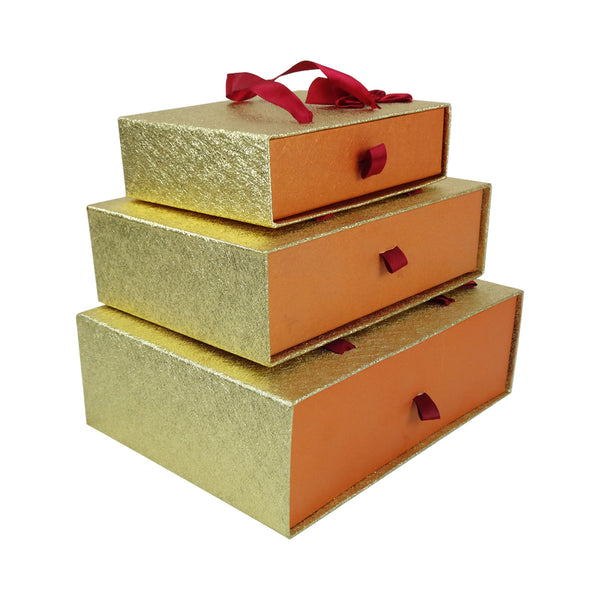 Gold Metallic Gift Box - Set Of 3