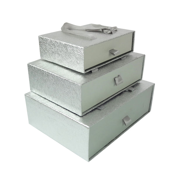 Metallic Silver Gift Box  - Set of 3