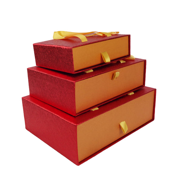 Metallic Red/Orange  Gift Box  - Set of 3
