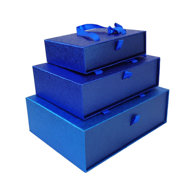 Dark Blue Metallic Gift Box - Set Of 3