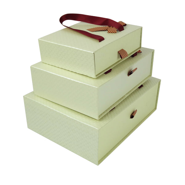 Cream Textured Gift Box - Set Of 3