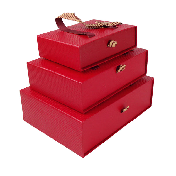 Textured Red Gift Box  - Set of 3