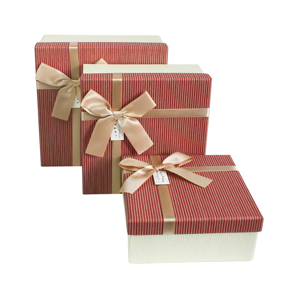 Cream and Striped Burgundy Gift Box - Set of 3
