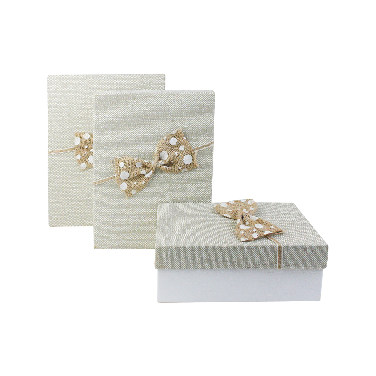 White Brown Jute Bow Gift Box - Set Of 3