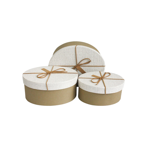 Light Brown Suede Gift Box - Set Of 3