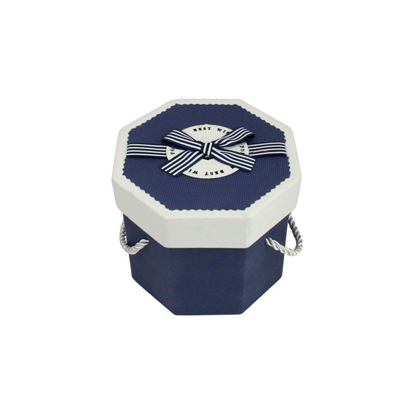 Dark Blue & White Octagon Gift Box