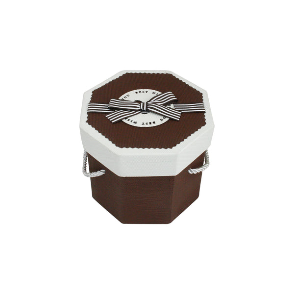 Brown & White Octagon Gift Box
