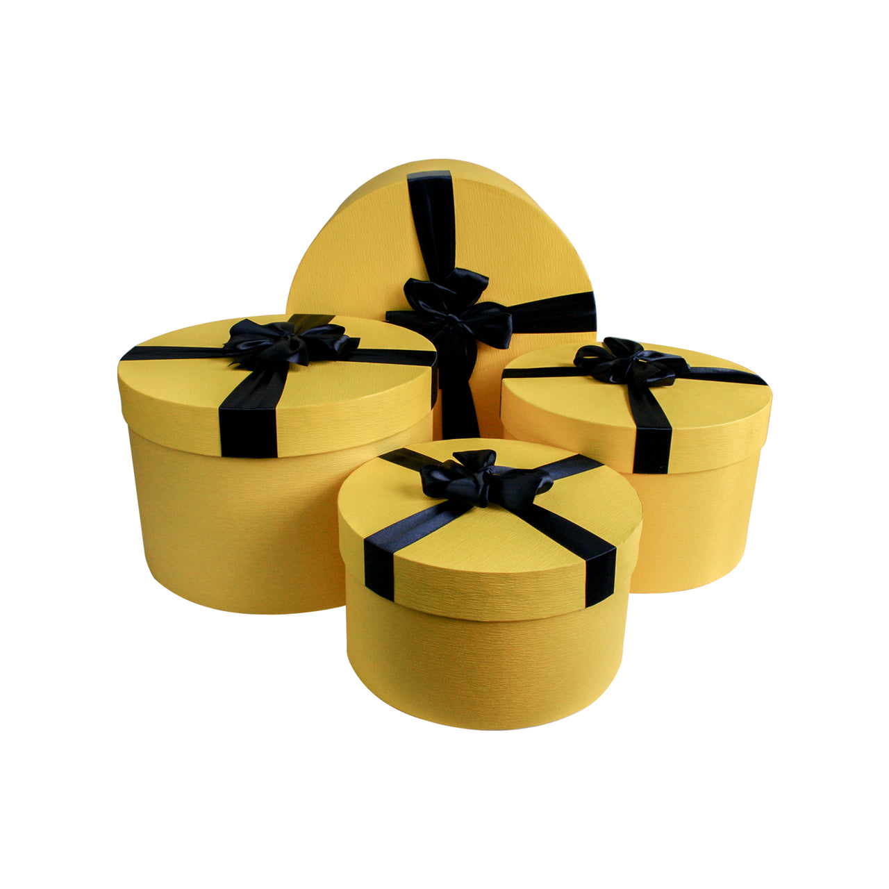 Yellow And Dark Blue Cylindrical Gift Box - Set Of 4
