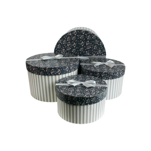 Grey with Dark Blue Floral Lid Cylindrical Gift Box - Set of 4