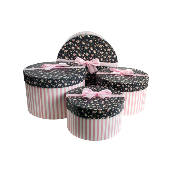 Pink with Dark Blue Floral Lid Cylindrical Gift Box - Set of 4