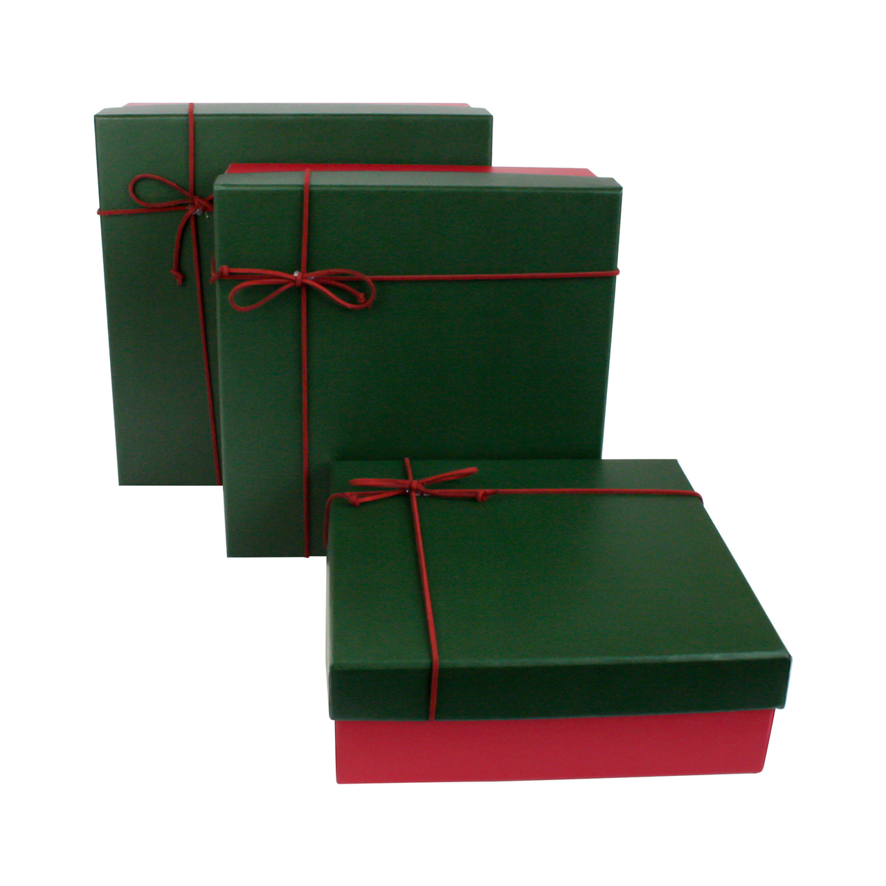 Red & Dark Green Square Gift Box - Set of 3