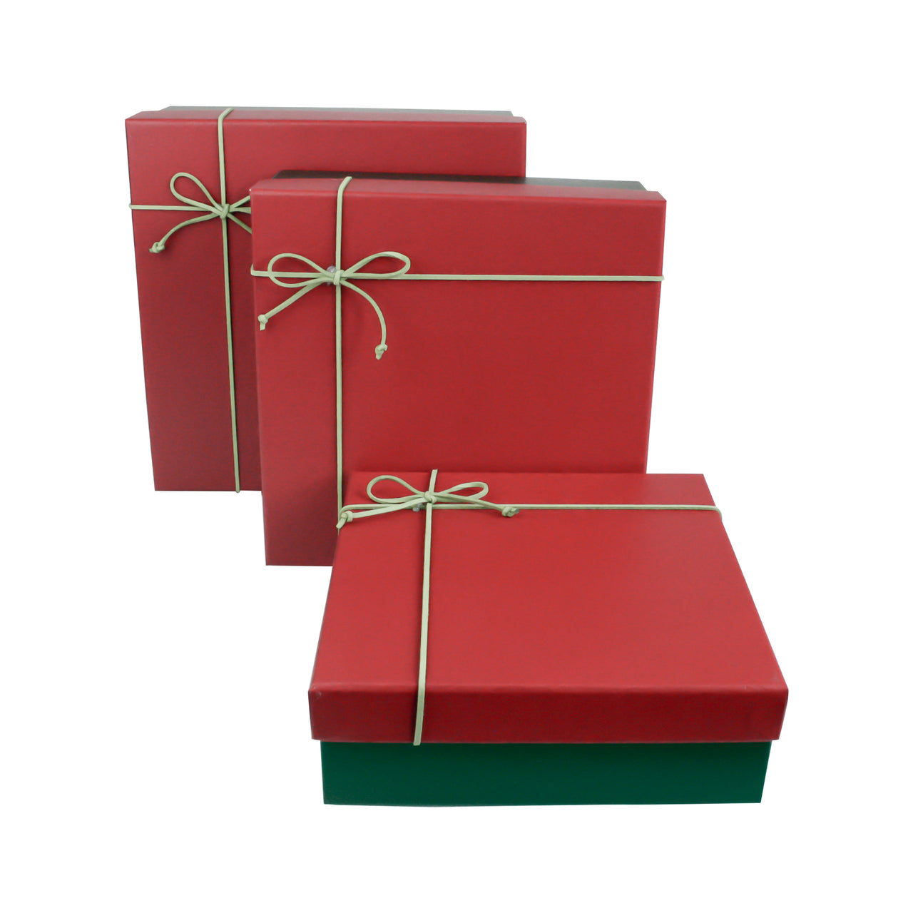 Dark Green & Red Square Gift Box - Set Of 3