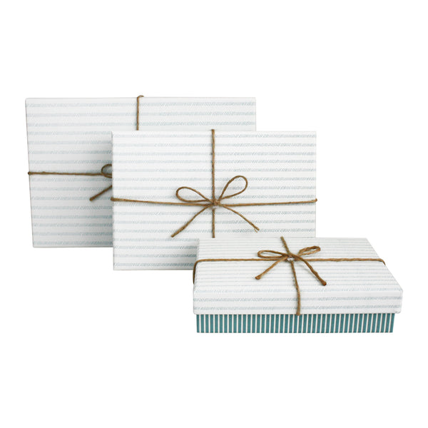 Blue Stripe With White Striped Lid Gift Box - Set of 3