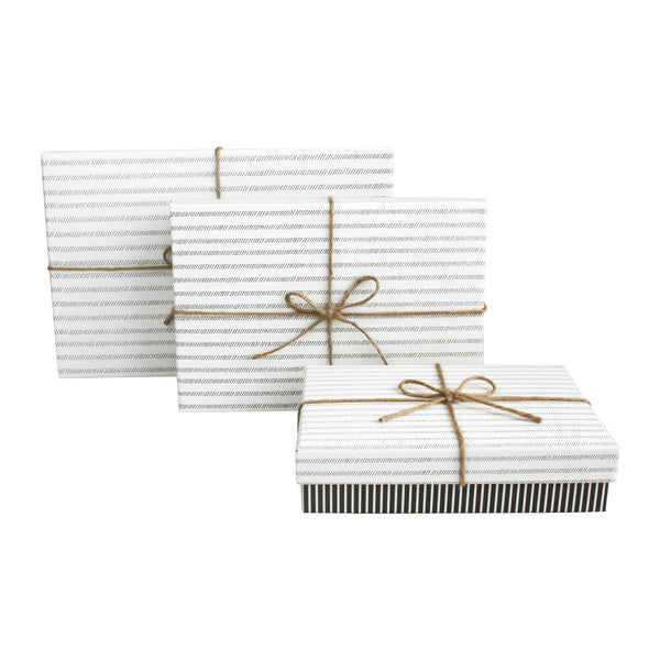 Dark Grey Stripe With White Striped Lid Gift Box - Set of 3