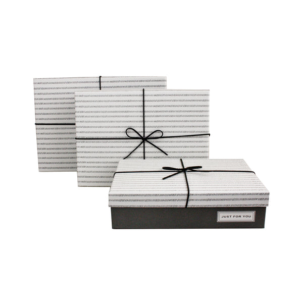 Dark Grey with White Stripes Lid Gift Box - Set of 3