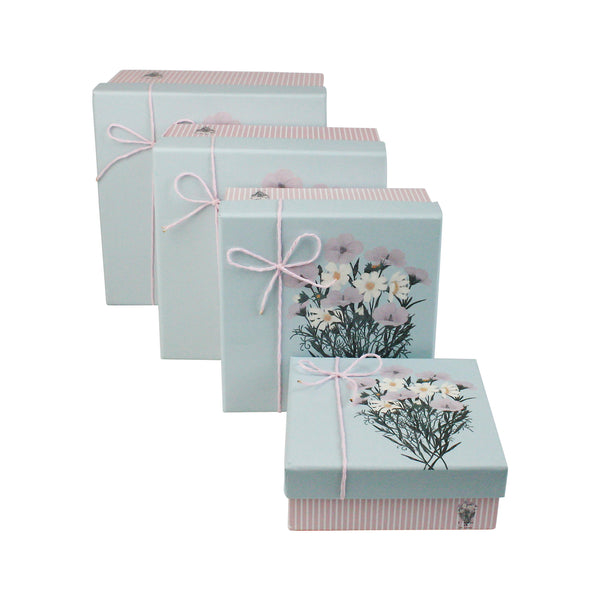 Pink with Blue Bouquet Lid Gift Box - Set of 3