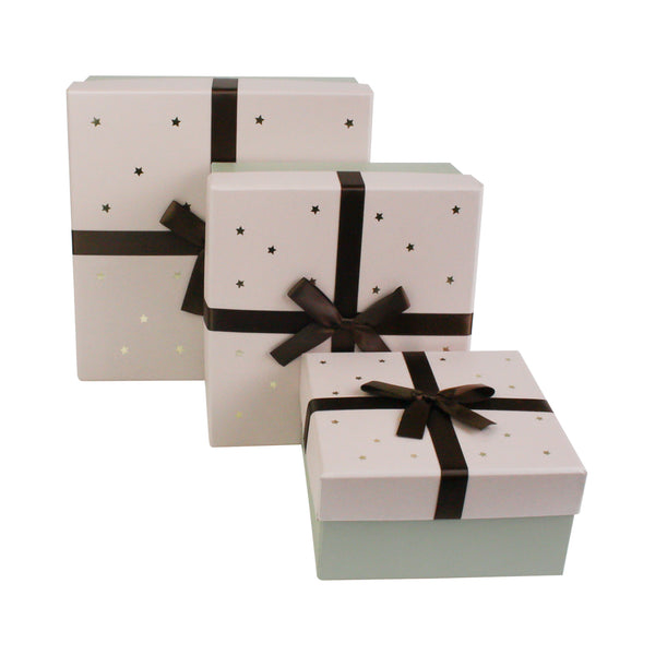 Grey with Pink Star Lid Gift Box - Set of 3