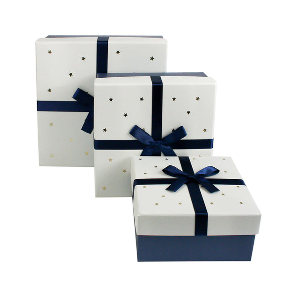 Dark Blue with White Stars Lid Gift Box - Set of 3