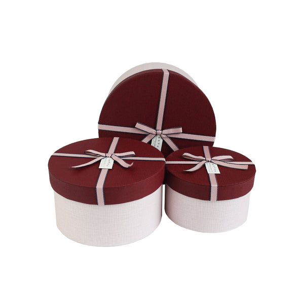 Pink Burgundy with Bow Gift Box - Set Of 3